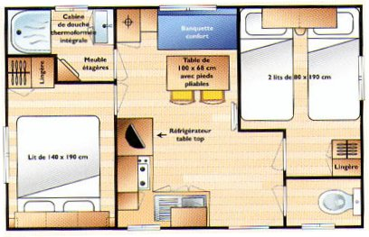 Mobilhomes camping de la grande plage lesconil for Salle de bain dans petite chambre